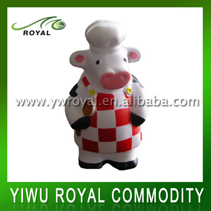 Personalized Shaped Foam Cooking Animal PU Stress Cow