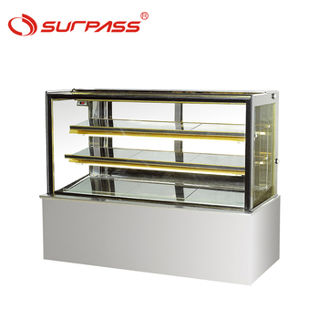 Quality assure Countertop displays chiller flat glass refrigerator showcase