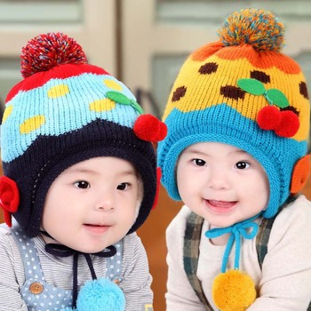 TSW6018 Korean baby boy baby girl cute color knitted baby winter warm hats 56457f5c930
