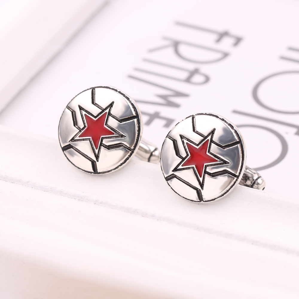 Jewelry wholesale fashion hot Marvel red five-pointed star men's shirt cuff links