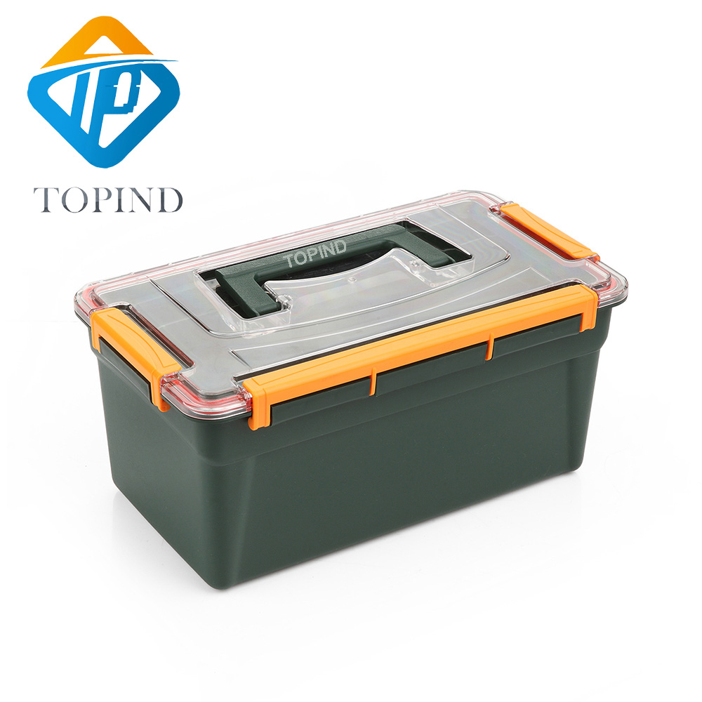 TOPIND 1PC Dark green double layer Waterproof hand tool box,Big Fishing Tackle Box tool case