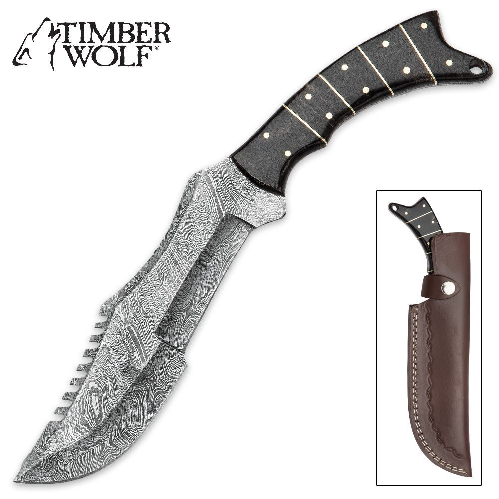 Timber Wolf Buffalo Horn Damascus Steel Bowie Knife w/Leather Sheath