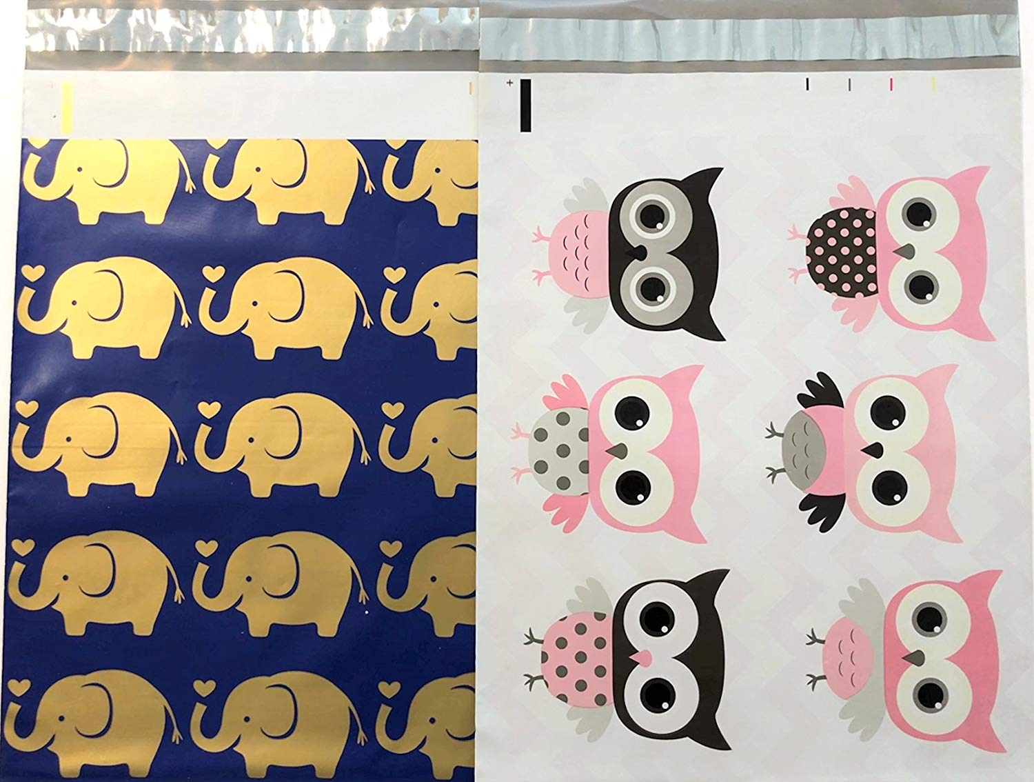 Designer Poly Mailers 10x13 : Gold Blue Elephant and Pink Owl Combo; Printed Self Sealing Shipping Poly Envelopes Bag ( 30 Pcs Total )