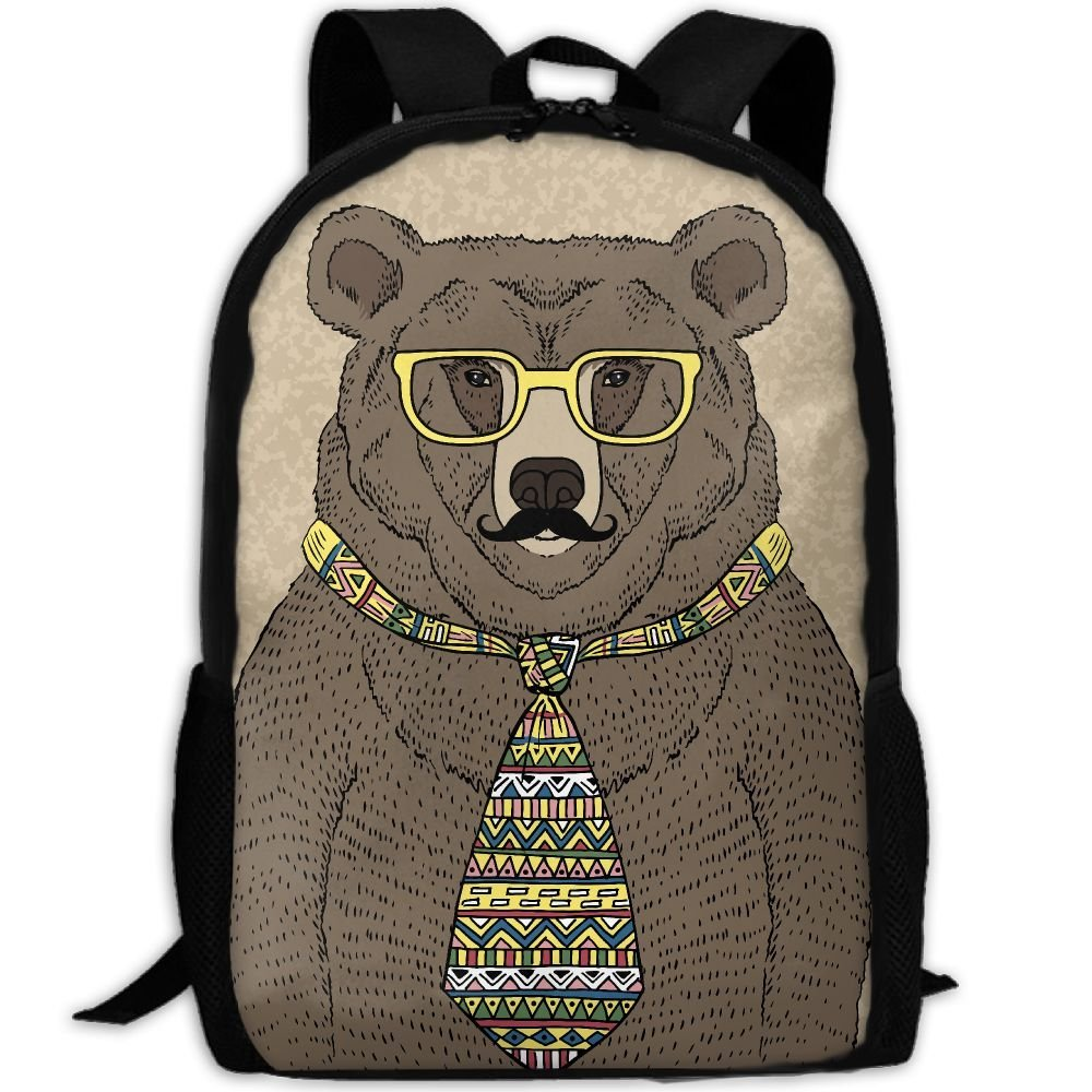 CY-STORE Bear In Tie And Glasses With Mustache Print Custom Casual School  Bag Backpack 6f2ca01b8d38c