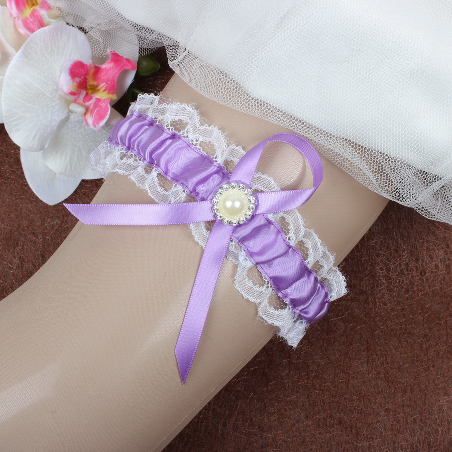 Wedding Suppliers White And purple Lace Garter With Ribbon Bowknot Bridal Garters F388