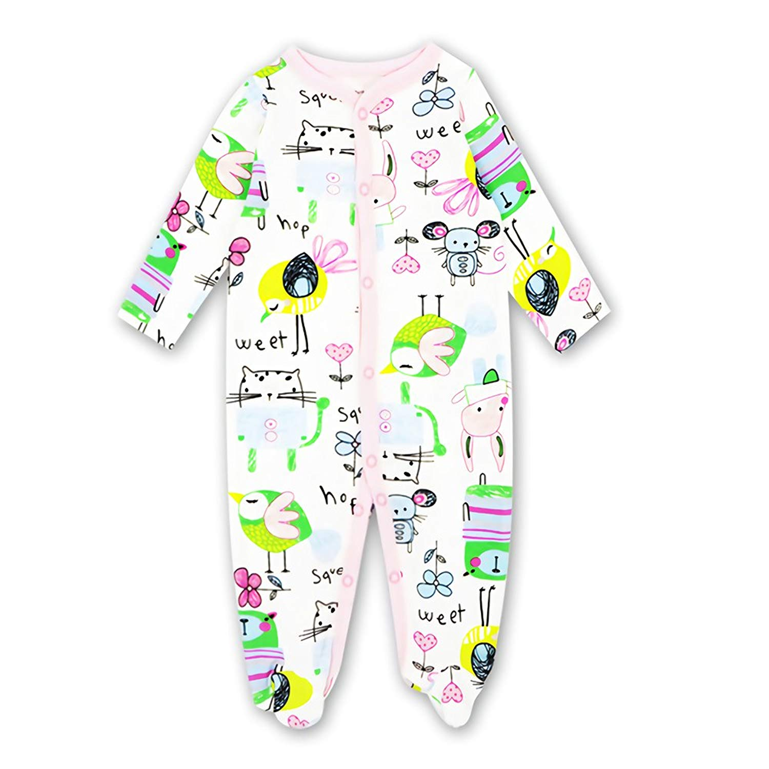 c2dbf43bd8 Get Quotations · Quoxiao Toddler Pajamas 100% Soft Cotton Baby Girl Boy Footed  Pajamas Jumpsuit Long-Sleeve