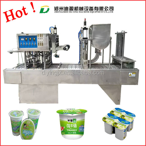 Automatic Soy Milk Tea Water Yogurt Jelly Juice Plastic Cup Filling And Sealing Packing Machine