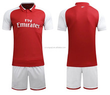 2017/2018 season club team arsenall red soccer uniform full set away black soccer jerseys with shorts