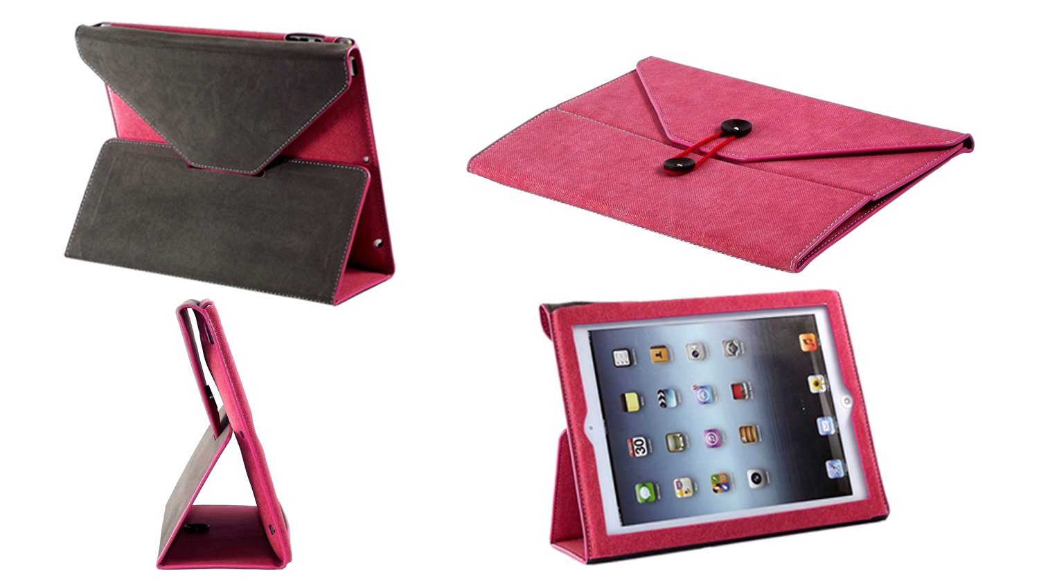 BTM Denim Envelope Jean Portfolio Case Cover Protector for Apple Ipad 2nd 2, 3, 4th 4 Generation Retina Display w/ Elastic Strap & Great Holder | Cute for the Girly Girl | Protective Durable Designer Stand | Cheap Price, Great Value - Raspberry