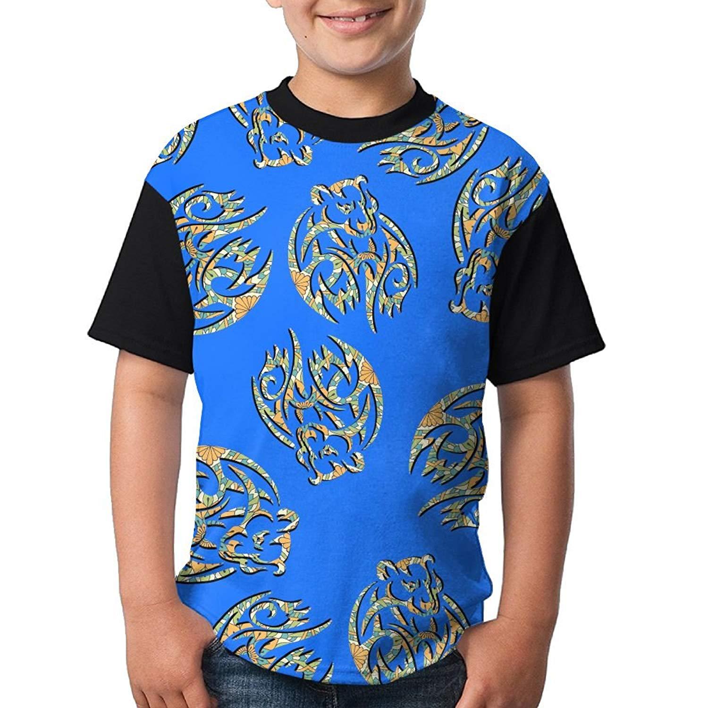 a8bbc7c13 Get Quotations · Buzi Cloth Aztec Bear Girls Shirt Novelty Front Print Crew  Neck Short Sleeve Raglan T Shirt