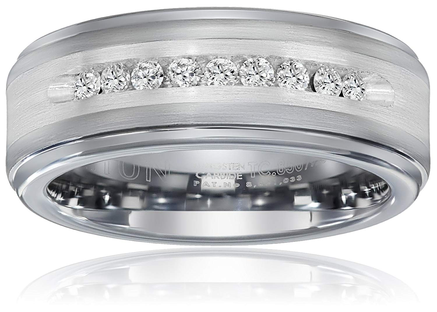 Triton Men's Tungsten and Silver 8mm Comfort-Fit Diamond Wedding Band (1/4cttw, I-J Color)