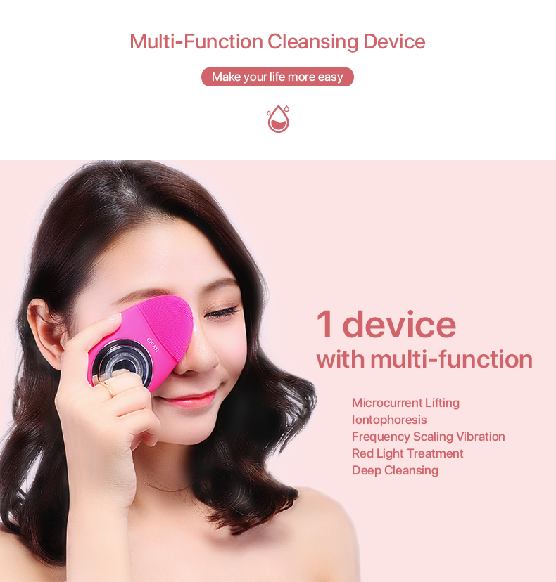 New Portable FDA Silicone IPX7 Waterproof Facial Cleansing Brush