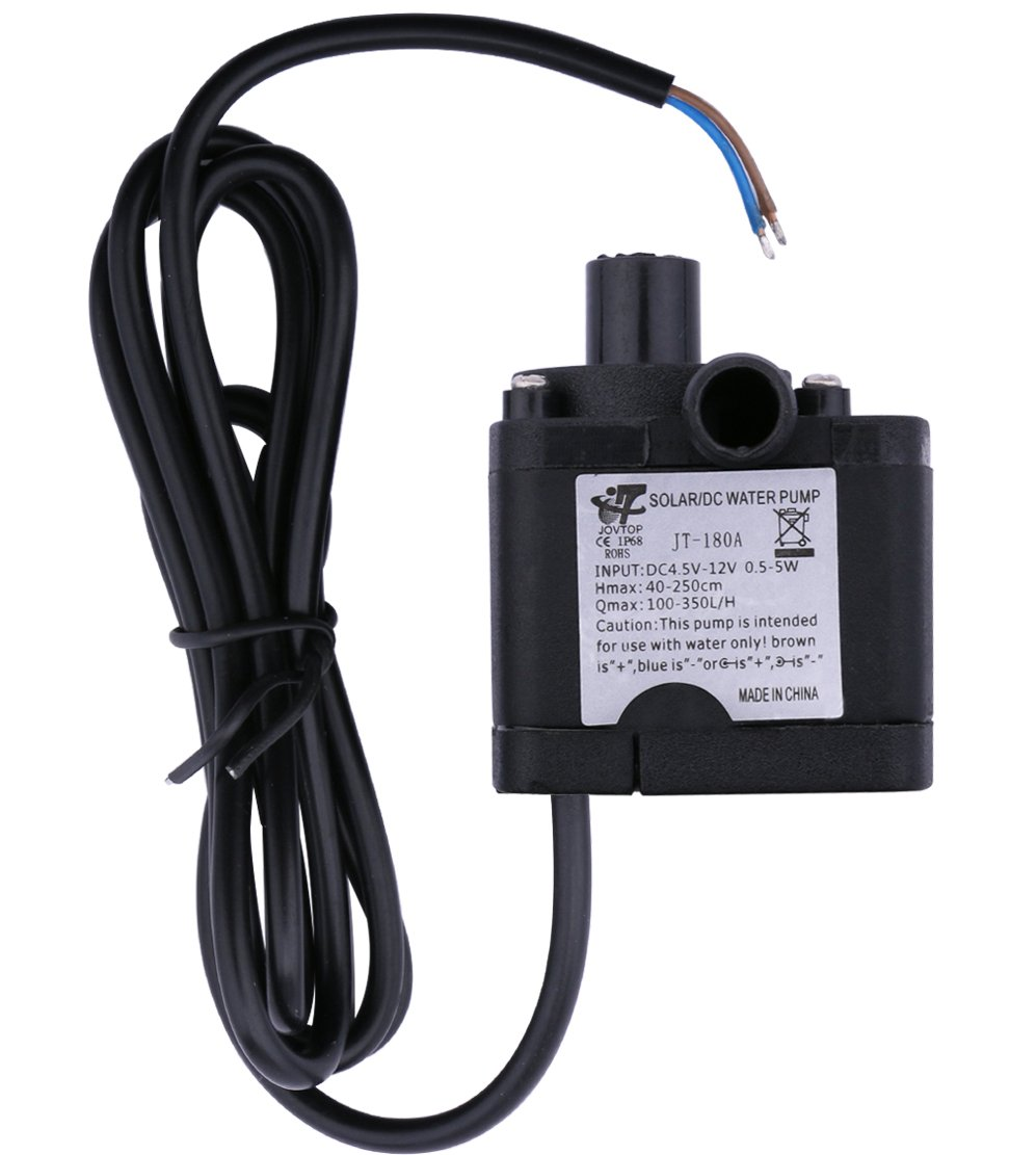 Yeeco DC 3.5-12V 6V 9V 12V Water Pump Electric Brushless Micro Water-Cooled Ultra Quiet Submersible Pumping for Aquarium Fish Fountain Garden House Water Hydroponic Land Dual-Use Maximum Lift 2m