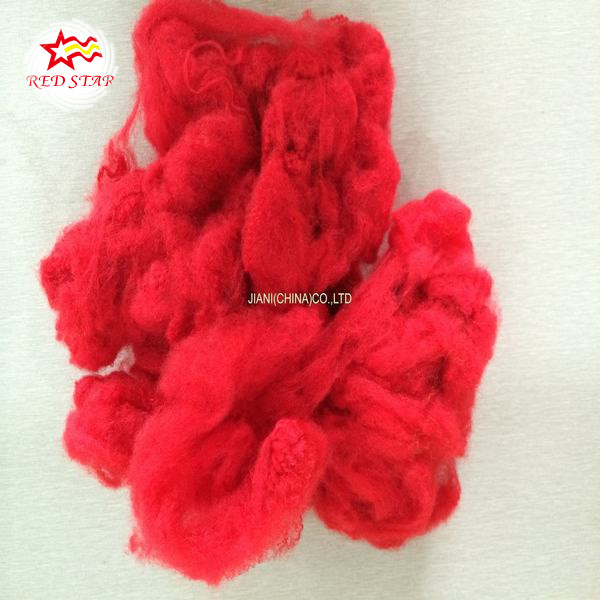 Solid silicon red polyester staple fiber,different color dyed polyester fiber forauto mats
