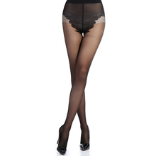 Women's Butterfly Control Top 15 Den All Sheer Silk Tights Pantyhose
