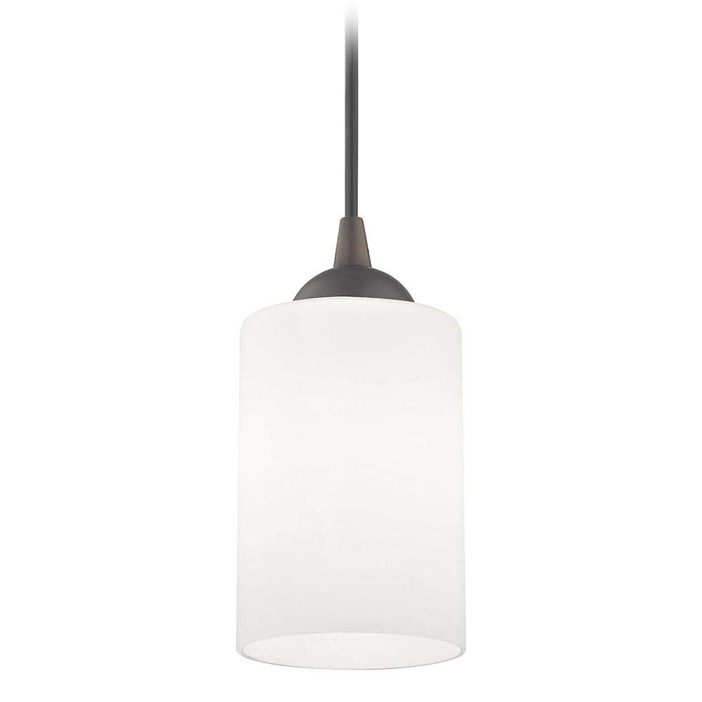 Bronze Mini-Pendant Light with White Cylinder Glass