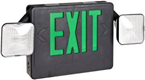 Morris Products 73033 Combo LED Exit Emergency Light, Green LED, Black Housing (2)