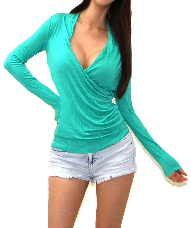 b47d983bca511e Get Quotations · Vivicastle Women s V-Neck Low Cut Cleavage Wrap Cross Long  Sleeve Shirt Top