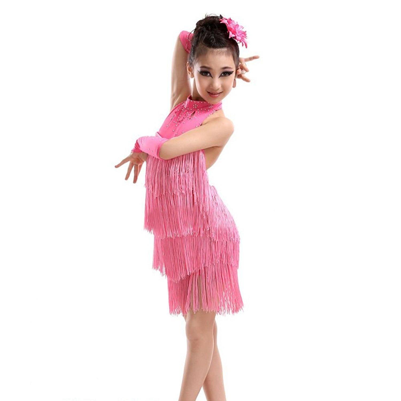 0039281550d30 Get Quotations · Gsha Kid Girls Latin Salsa Dress Sleeveless Halter Tassel  Dancewear 4-11 Year