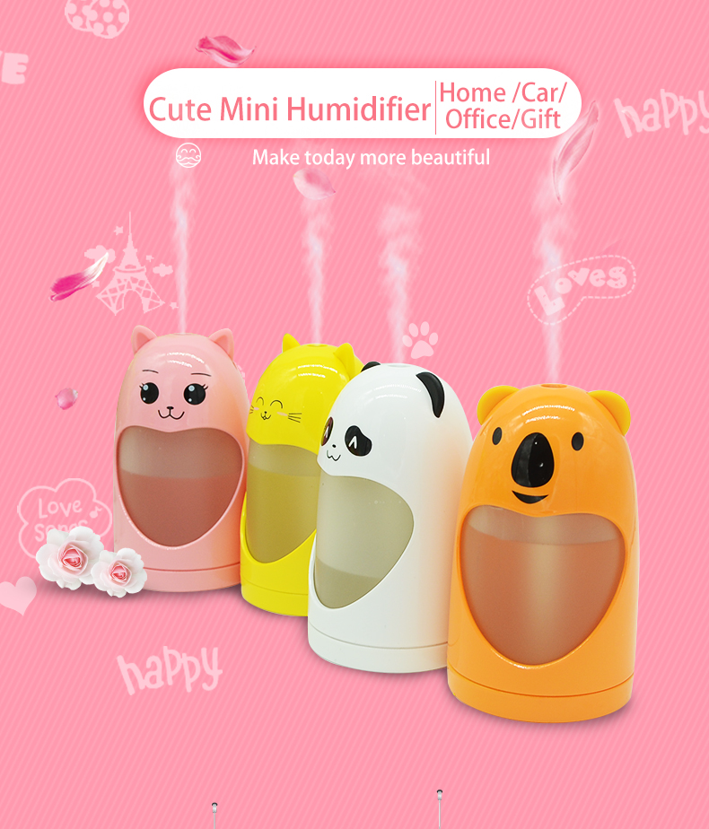180ml personal portable USD mini humidifier for car use night light function