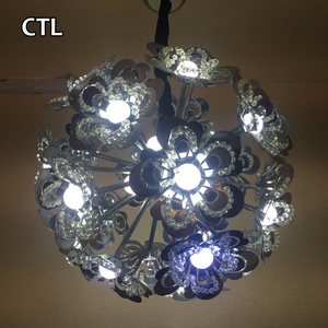 Modern small crystal chandelier decorative flower shaped LED project pendant light