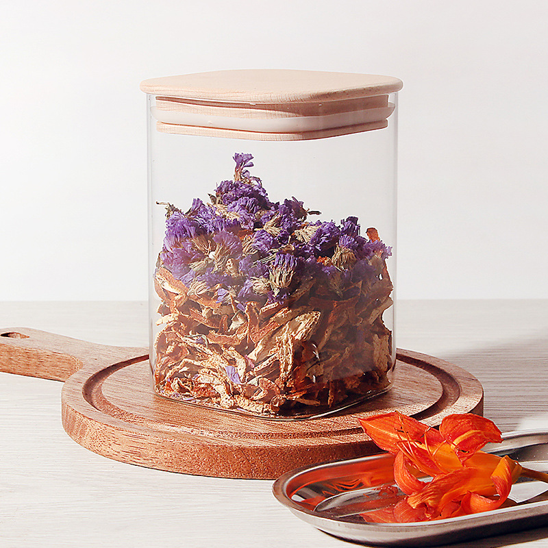 Square borosilicate glass storage jar with bamboo wooden lid
