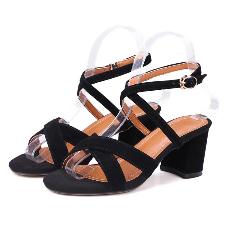 2d67897d15887 2018 New Design Girls Fancy Black Suede Cross Strap High Heels Shoes Women  Sandals Summer