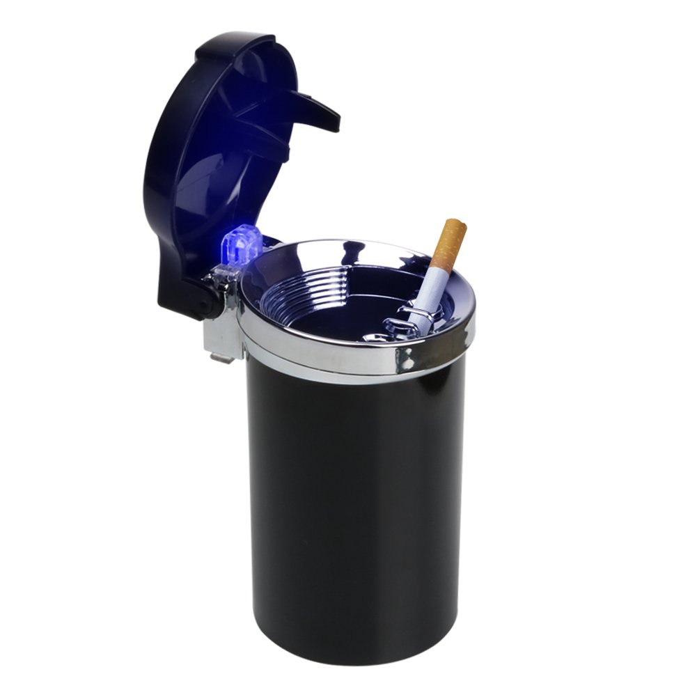 Mr. Car Ashtray | Portable Travel Car Cigarette Ashtray Odor Remover with Blue LED Light Indicator | Sturdy ABS Material Battery Operated Smokeless Vehicle Ashtray | Black | 661.2