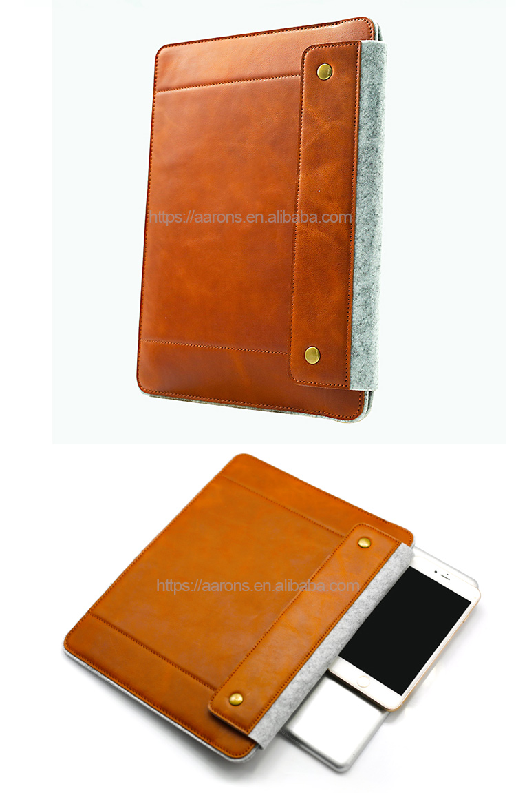 Soft Shock-resistant Fabric Genuine Leather with Wool Felt Pouch Carry Bag Sleeve Case Cover Tablets For iPad 9.7 Inch