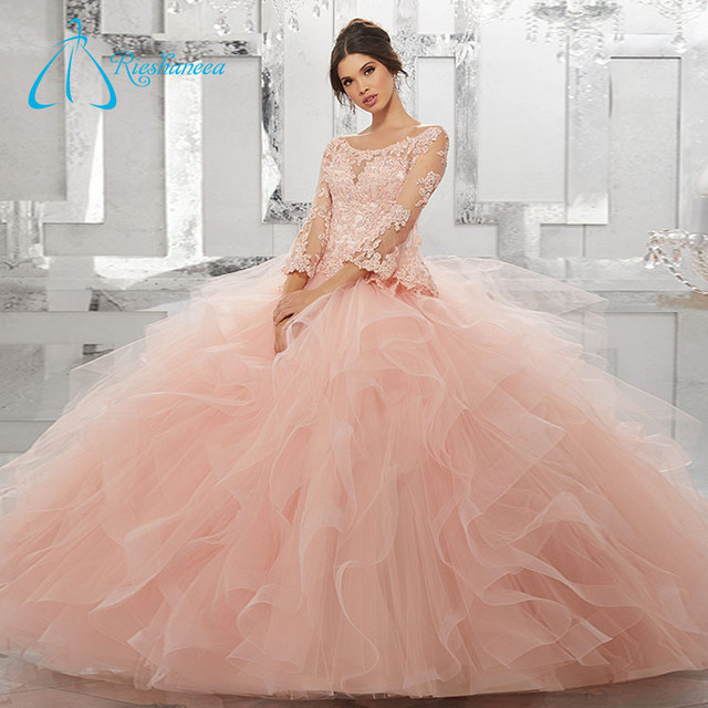 11568631165 Crystal Cascading Ruffle Long Sleeve Ball Gown Quinceanera Dress