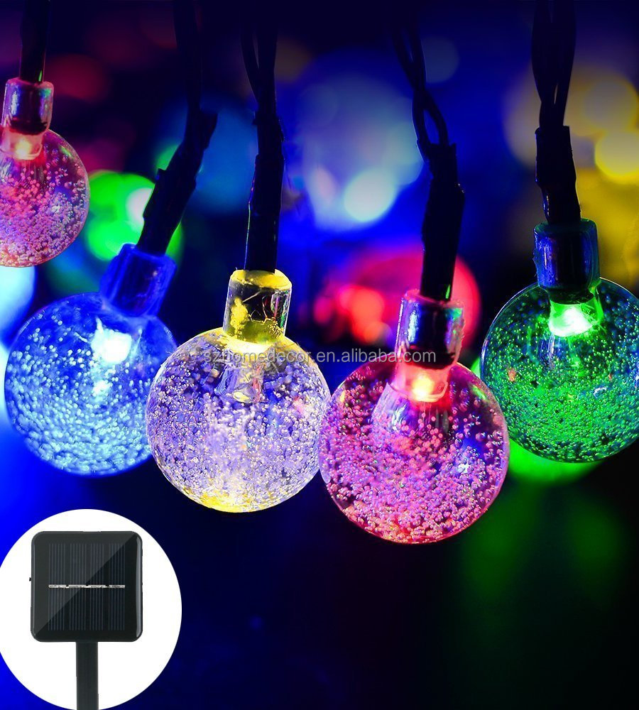 Solar String Light globe,20ft 30 LED Solar Powered String Fairy Bubble Shaped Lights For Wedding/Christmas party ( Multicolor)