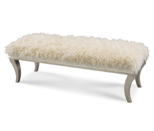 Aico Hollywood S Sheepskin Bed Bench In Platinum By Michael Amini