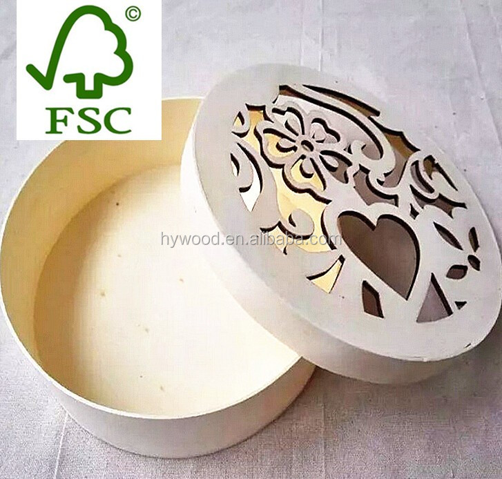 Round Shape Customized Hollow Out Lid Wood Cookie Storage Box