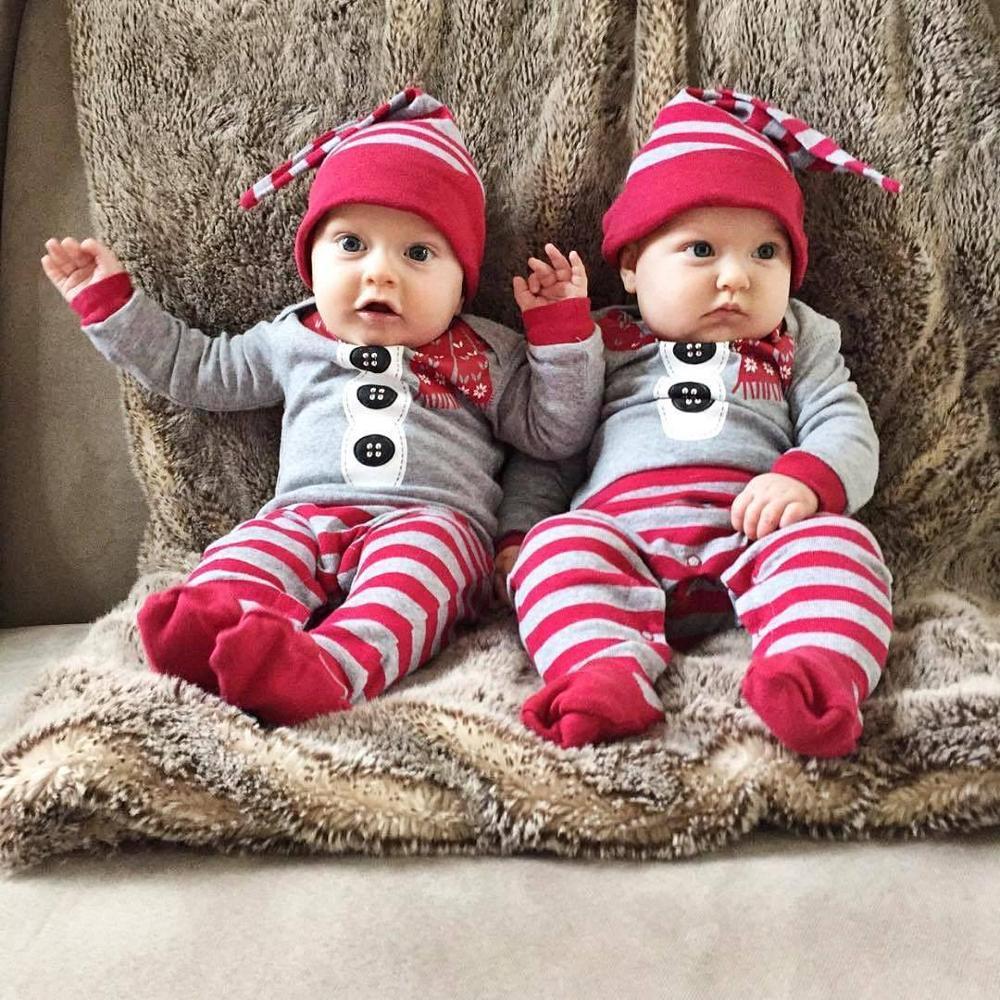 1e9eb55c5 Christmas Stripe Baby Playsuit Long Sleeve Romper Baby Boy Names ...