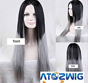ATOZWIG Silk Straight Ombre Silver Grey Synthetic Lace Front Wig Glueless Two Tone Natural Black/Grey Heat Resistant Hair Wigs For Women