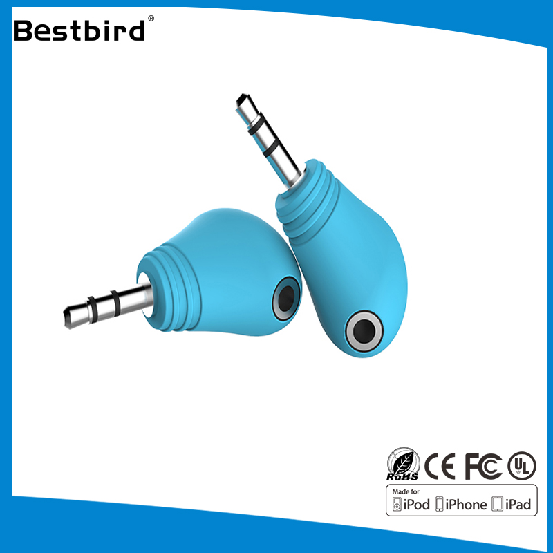 Connector double AV Retractable 3.5mm male to 2 female headphone splitter