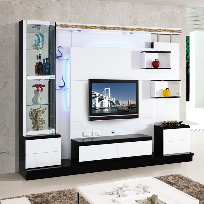 Living room corner lcd tv stand wooden furniture 018 for Lcd unit design for living room