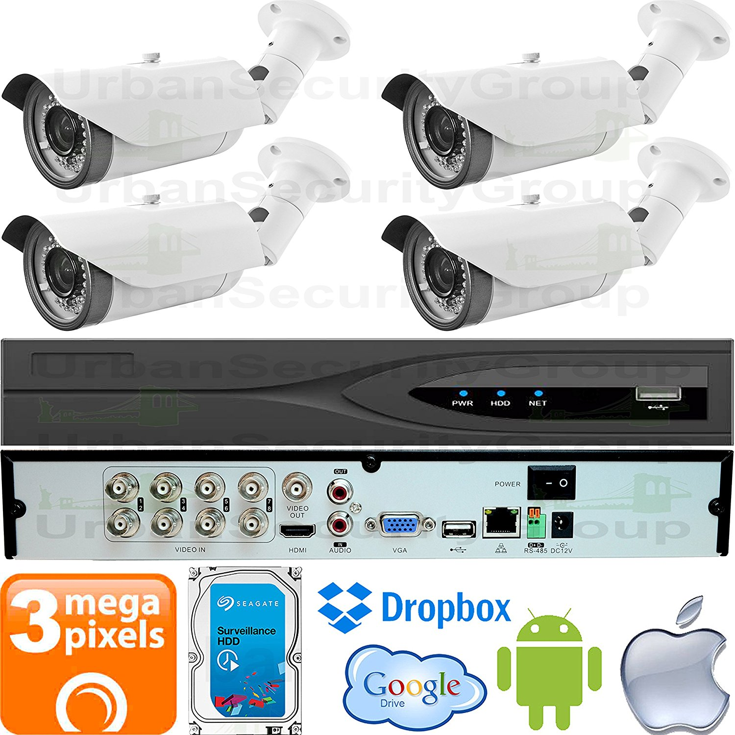 USG Business Grade 3MP 4 Camera Security System CCTV Kit : 4x 3MP 2.8-12mm Vari-Focal Bullet Cameras + 1x 8 Channel 3MP DVR + 1x 4TB HDD : Apple Android Phone App : Coaxial BNC Cable : Plug & Play