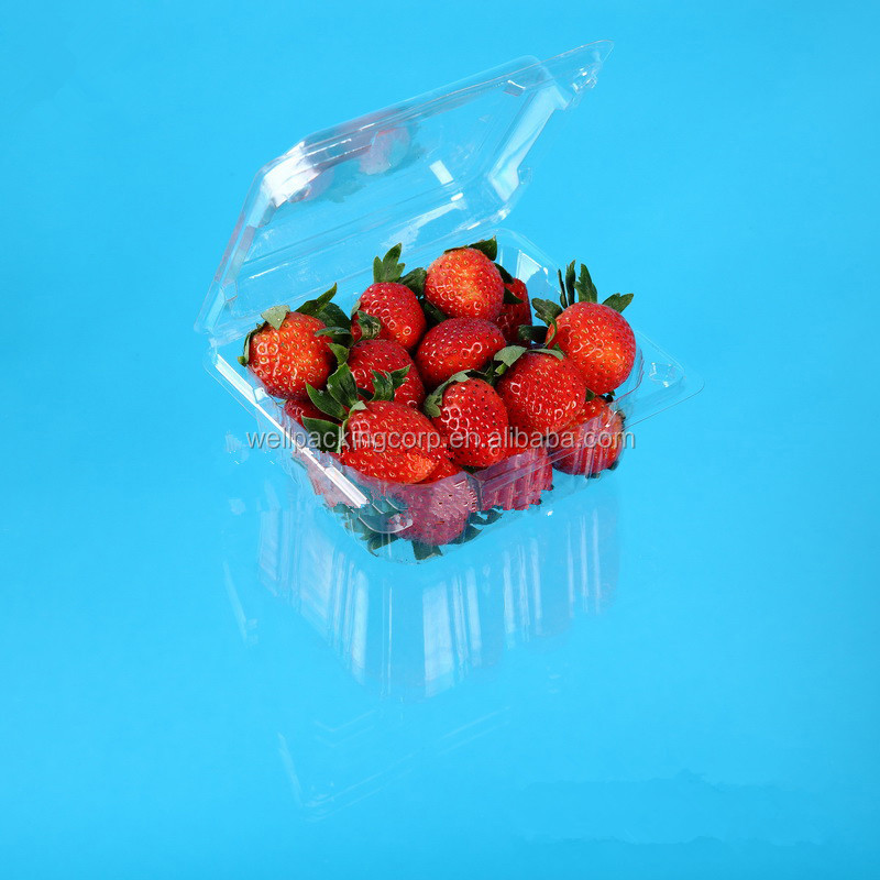 Plastic Clamshell Strawberry Punnet with vent hole and lid