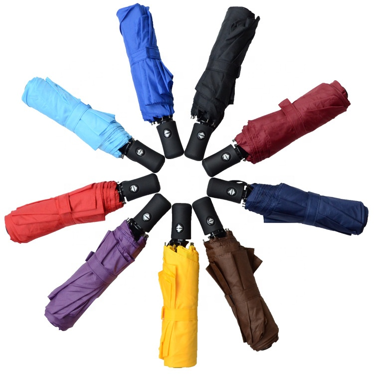 Wholesale high quality windproof advertising auto open auto close promotion 3 fold umbrellas with logo prints