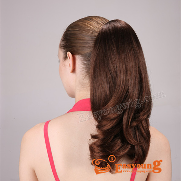 Synthetic curly hair drawstring ponytail hair pieces manufacture