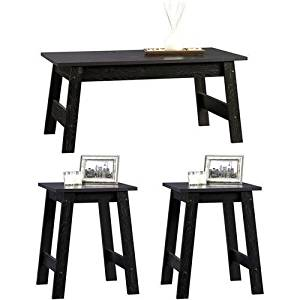 3-piece, Black Wood Coffee Table and End Tables Value Bundle! This Modern 3 Piece Coffee Table Set Is the Perfect Addition to Your Living Room. This 3 Piece Coffee Table with End Table Is Also Perfect for a Dorm Room.