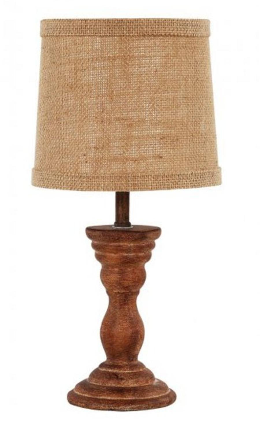 Diva At Home Set of 2 Raffaello Wood Stain Accent Lamps with Natural Burlap Fabric Shades