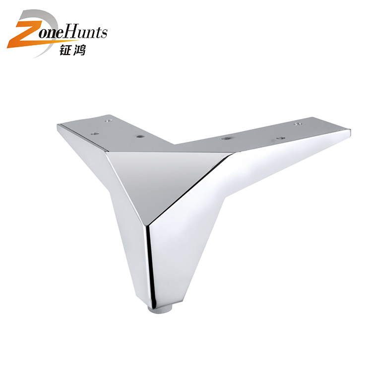 Sofa accessories triangle chrome metal decorative cast iron furniture legs sofa hardware chrome silver couch legs
