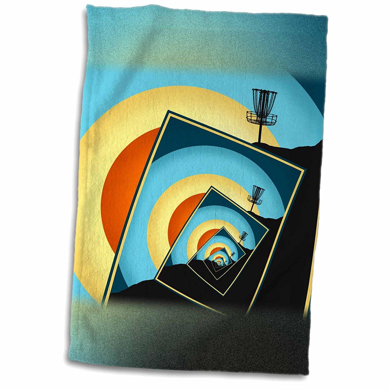 3dRose Phil Perkins - Disc Golf - Spinning Disc Golf Baskets - colorful hillside frisbee disc golf design - 12x18 Towel (twl_243440_1)