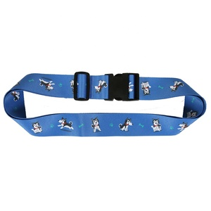 Custom Blue Luggage belt with Cartoon Heat transfer printing Cute logo