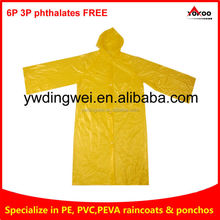 PE rain coat with hat ,rain poncho