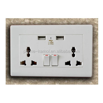 Hot Sale Wall Socket 2 Usb India Plug Wall Mounted Power Outlet ...