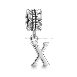 Custom Letter Silver Alphabet Charms 925 Sterling Silver European Beads