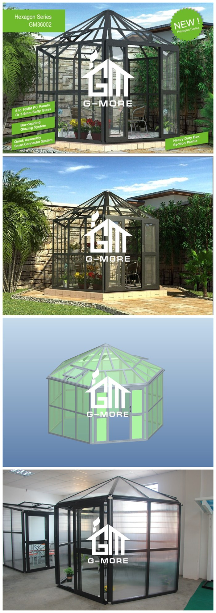 Latest Hexagon Shape Aluminium Profile + Tempered Glass Luxury Greenhouse (GM36001)